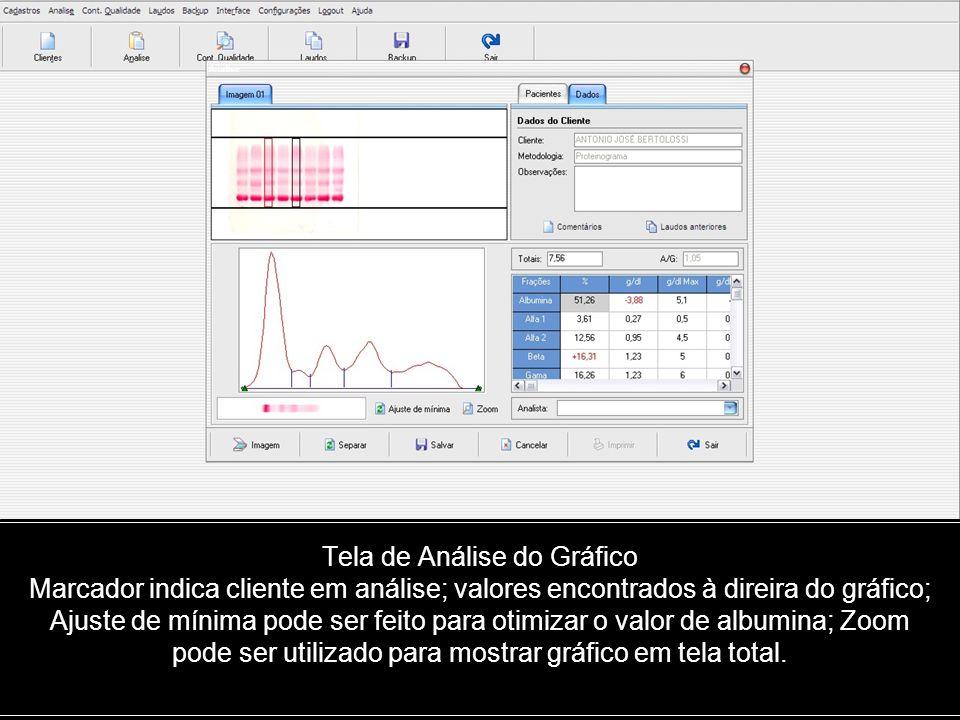 Tela de Análise do Gráfico Marcador indica cliente em análise; valores encontrados à direira do gráfico; Ajuste de mínima pode ser feito para otimizar