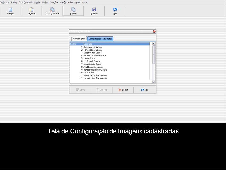 Tela de Configuração de Imagens cadastradas
