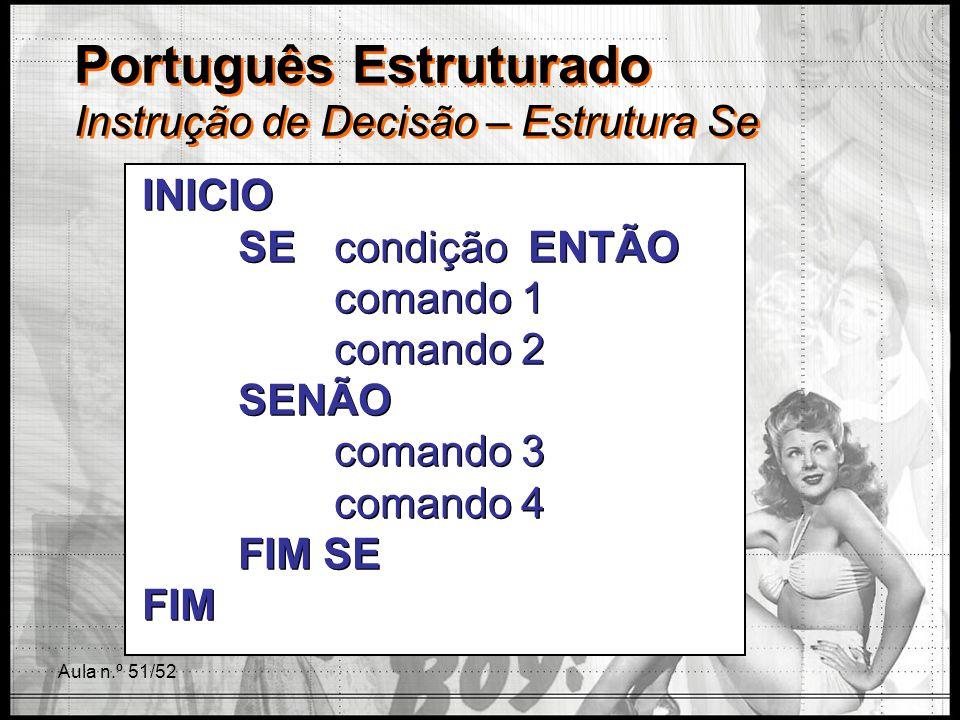 Aula n.º 51/52 Português Estruturado Instrução de Decisão – Estrutura Se INICIO SE condição ENTÃO comando 1 comando 2 SENÃO comando 3 comando 4 FIM SE