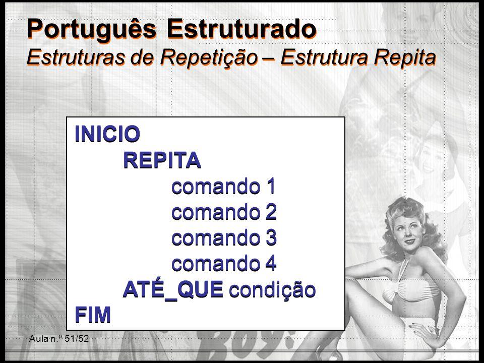 Aula n.º 51/52 Português Estruturado Estruturas de Repetição – Estrutura Repita INICIO REPITA comando 1 comando 2 comando 3 comando 4 ATÉ_QUE condição