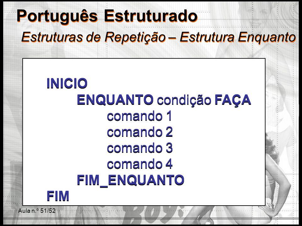 Aula n.º 51/52 Português Estruturado Estruturas de Repetição – Estrutura Enquanto INICIO ENQUANTO condição FAÇA comando 1 comando 2 comando 3 comando