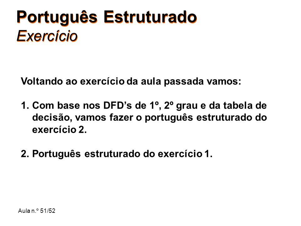 Aula n.º 51/52 Português Estruturado Exercício Voltando ao exercício da aula passada vamos: 1.Com base nos DFDs de 1º, 2º grau e da tabela de decisão,