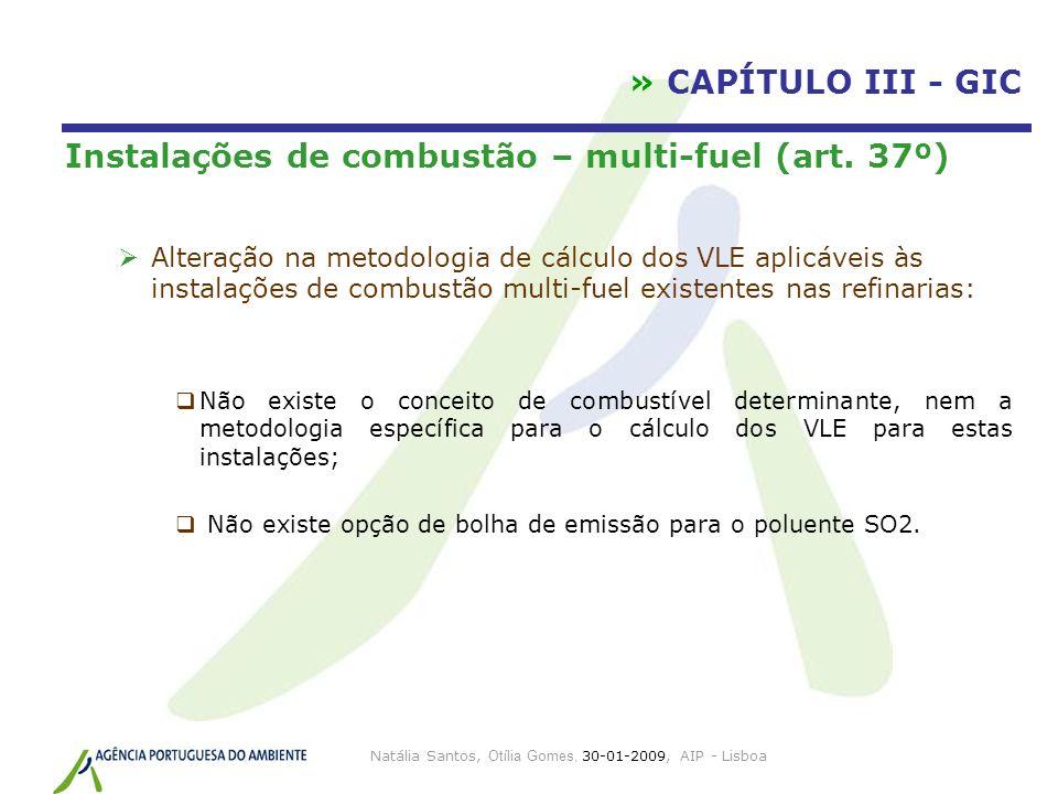 Natália Santos, Otília Gomes, 30-01-2009, AIP - Lisboa » CAPÍTULO III - GIC Instalações de combustão – multi-fuel (art. 37º) Alteração na metodologia