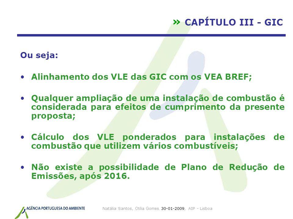 Natália Santos, Otília Gomes, 30-01-2009, AIP - Lisboa » CAPÍTULO III - GIC Ou seja: Alinhamento dos VLE das GIC com os VEA BREF; Qualquer ampliação d