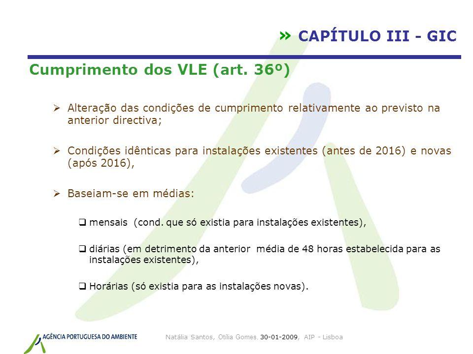 Natália Santos, Otília Gomes, 30-01-2009, AIP - Lisboa » CAPÍTULO III - GIC Cumprimento dos VLE (art. 36º) Alteração das condições de cumprimento rela
