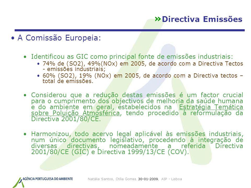 » Directiva Emissões A Comissão Europeia: Identificou as GIC como principal fonte de emissões industriais: 74% de (SO2), 49%(NOx) em 2005, de acordo c