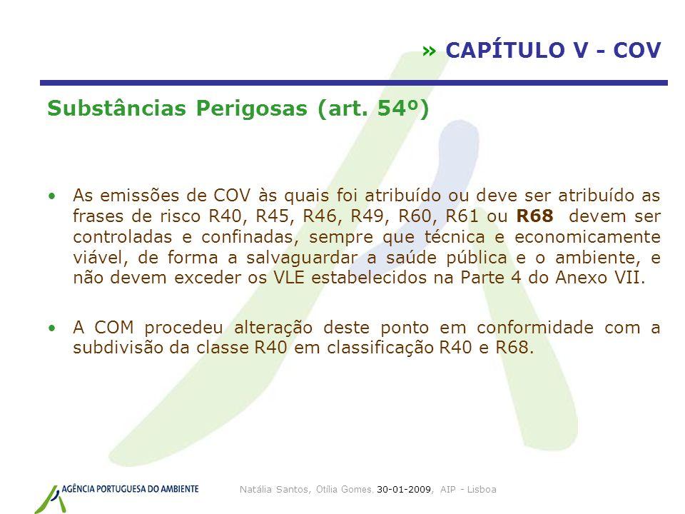 Natália Santos, Otília Gomes, 30-01-2009, AIP - Lisboa » CAPÍTULO V - COV Substâncias Perigosas (art. 54º) As emissões de COV às quais foi atribuído o