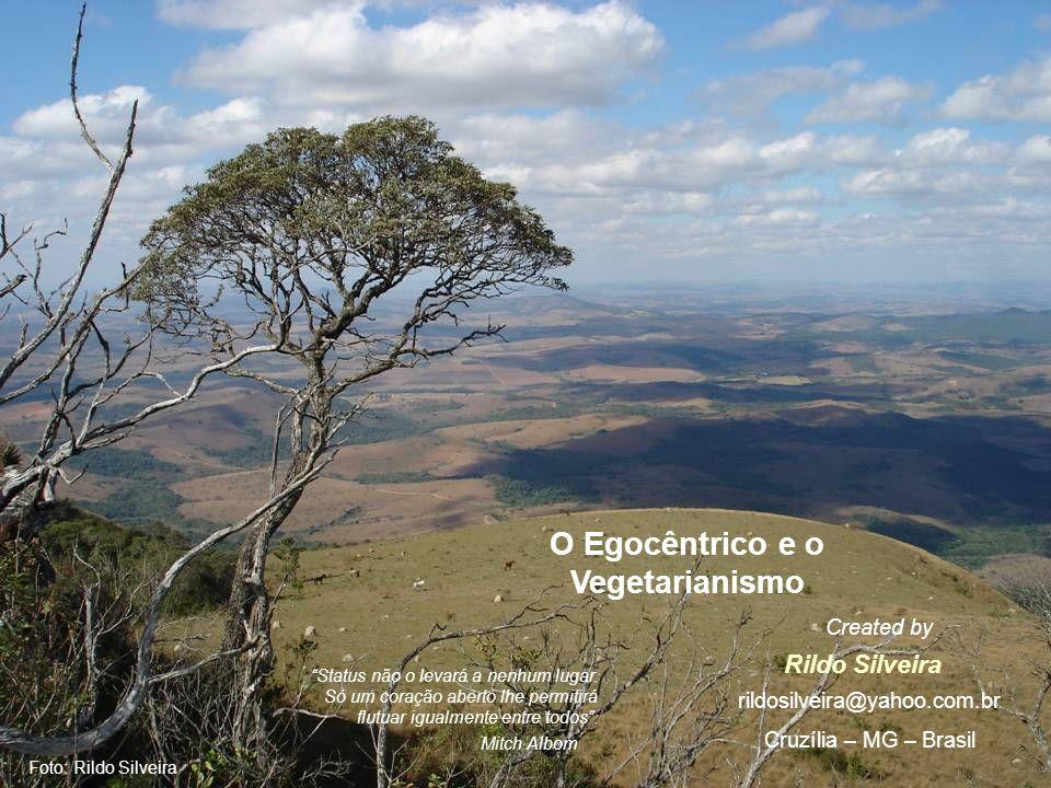 Foto: Rildo Silveira O Egocêntrico e o Vegetarianismo Rildo Silveira Created by rildosilveira@yahoo.com.br Cruzília – MG – Brasil Status não o levará a nenhum lugar.