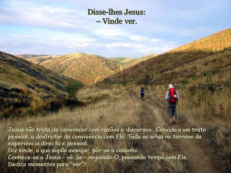Disse-lhes Jesus: – Vinde ver.Jesus não trata de convencer com razões e discursos.