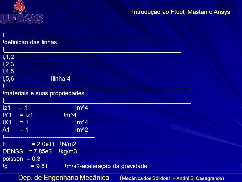 Dep. de Engenharia Mecânica ( Mecânica dos Sólidos II – André S. Casagrande) Introdução ao Ftool, Mastan e Ansys !____________________________________