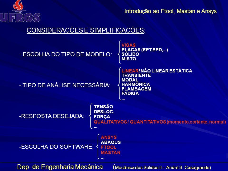 Dep. de Engenharia Mecânica ( Mecânica dos Sólidos II – André S. Casagrande) Introdução ao Ftool, Mastan e Ansys CONSIDERAÇÕES E SIMPLIFICAÇÕES: - ESC