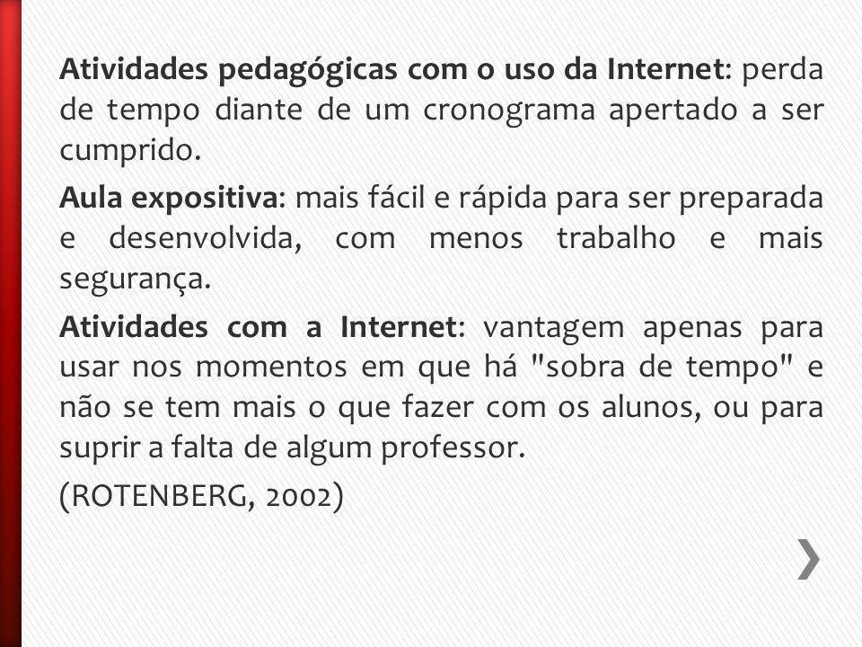 Atividades pedagógicas com o uso da Internet: perda de tempo diante de um cronograma apertado a ser cumprido.