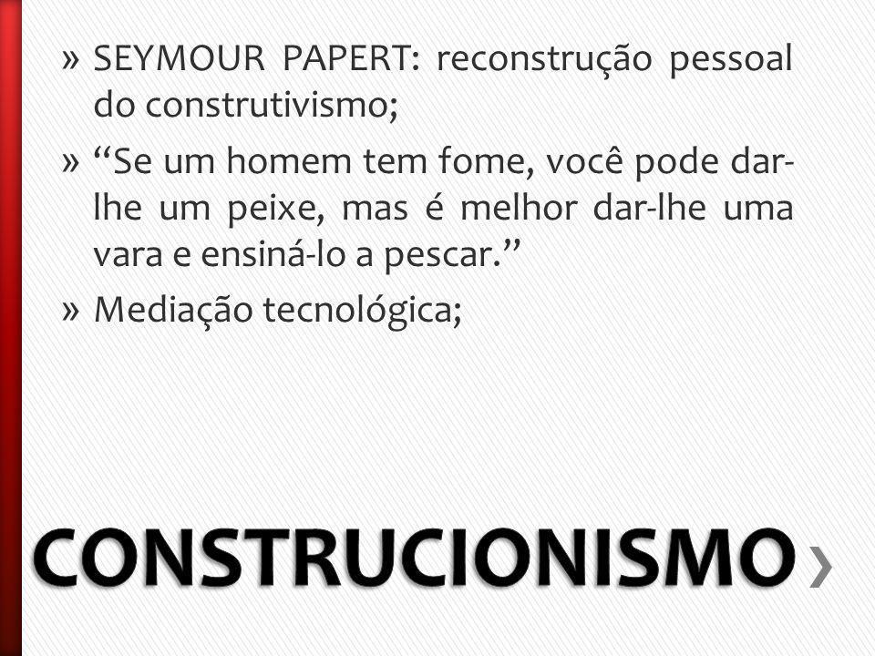 » SEYMOUR PAPERT: reconstrução pessoal do construtivismo; » Se um homem tem fome, você pode dar- lhe um peixe, mas é melhor dar-lhe uma vara e ensiná-lo a pescar.