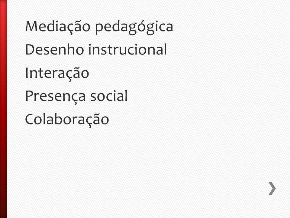 Mediação pedagógica Desenho instrucional Interação Presença social Colaboração