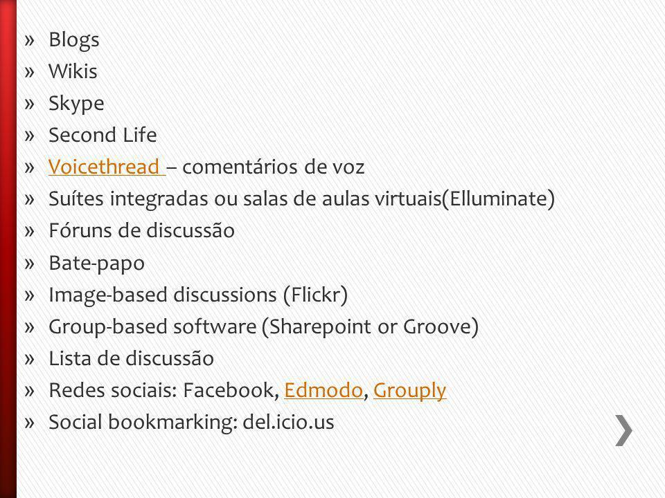 » Blogs » Wikis » Skype » Second Life » Voicethread – comentários de voz Voicethread » Suítes integradas ou salas de aulas virtuais(Elluminate) » Fóruns de discussão » Bate-papo » Image-based discussions (Flickr) » Group-based software (Sharepoint or Groove) » Lista de discussão » Redes sociais: Facebook, Edmodo, GrouplyEdmodoGrouply » Social bookmarking: del.icio.us
