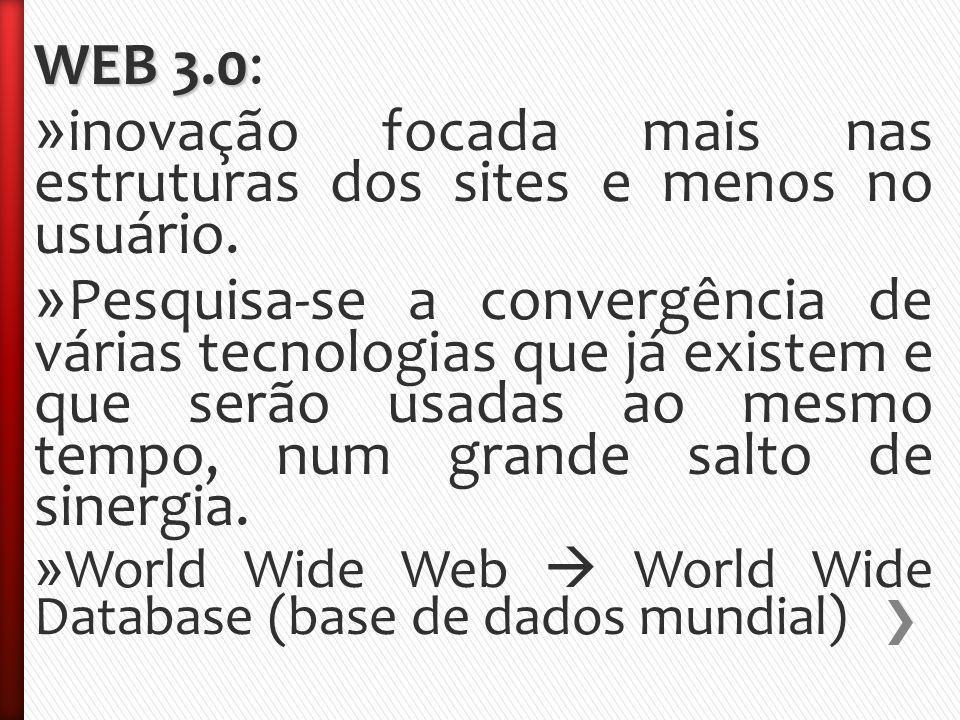 WEB 3.0 WEB 3.0: » inovação focada mais nas estruturas dos sites e menos no usuário.