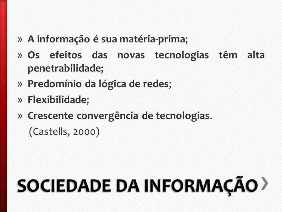 » A informação é sua matéria-prima; » Os efeitos das novas tecnologias têm alta penetrabilidade; » Predomínio da lógica de redes; » Flexibilidade; » Crescente convergência de tecnologias.