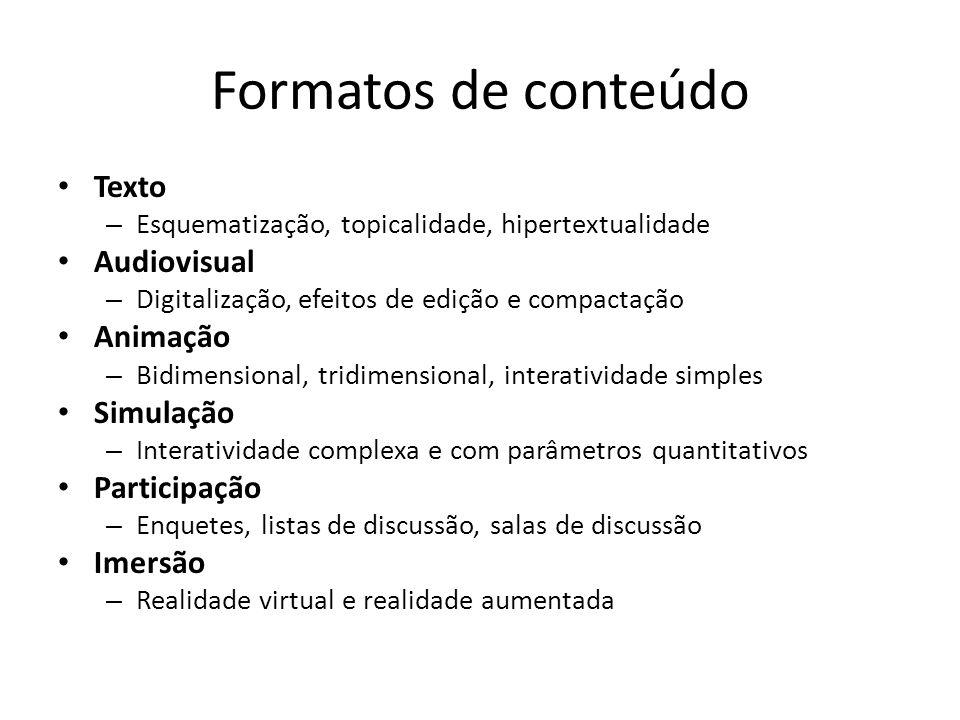 Formatos de conteúdo Texto – Esquematização, topicalidade, hipertextualidade Audiovisual – Digitalização, efeitos de edição e compactação Animação – B