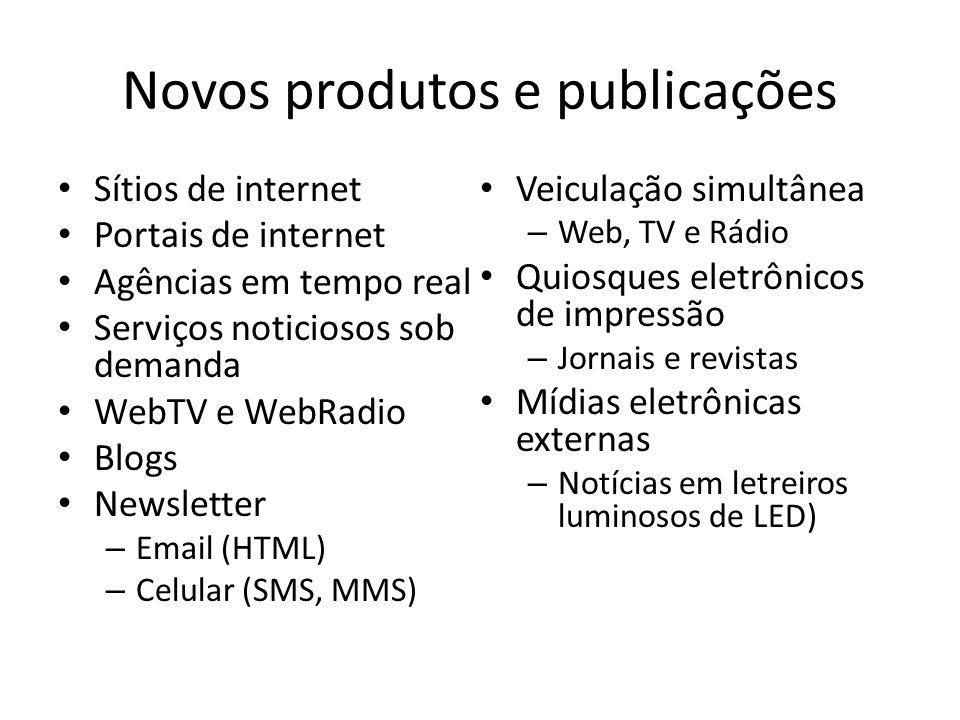 Novos produtos e publicações Sítios de internet Portais de internet Agências em tempo real Serviços noticiosos sob demanda WebTV e WebRadio Blogs News