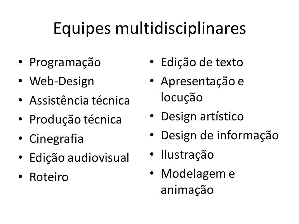 Equipes multidisciplinares Programação Web-Design Assistência técnica Produção técnica Cinegrafia Edição audiovisual Roteiro Edição de texto Apresenta