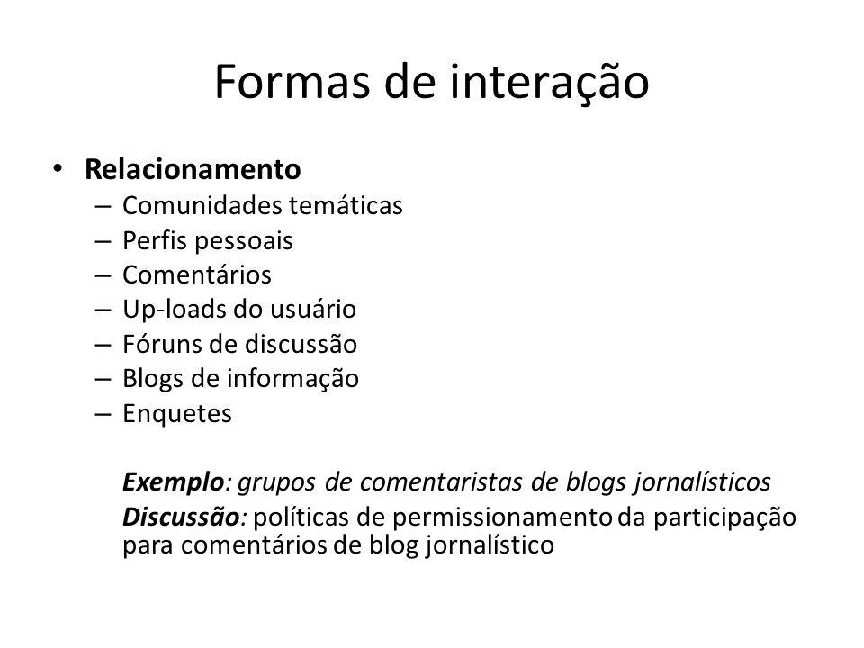 Formas de interação Relacionamento – Comunidades temáticas – Perfis pessoais – Comentários – Up-loads do usuário – Fóruns de discussão – Blogs de info