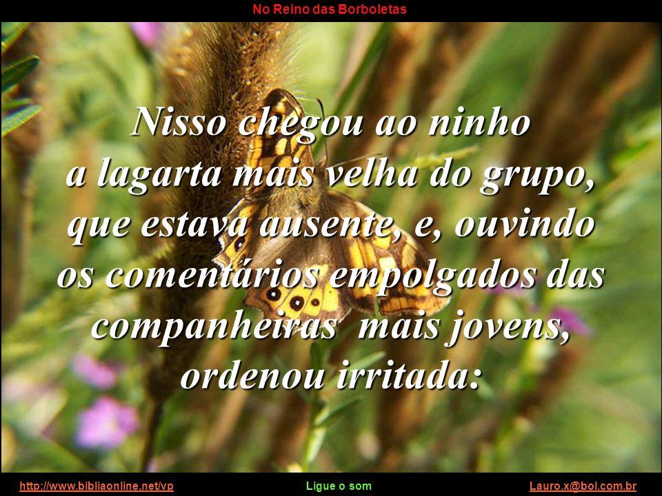http://www.bibliaonline.net/vp Ligue o som Lauro.x@bol.com.brhttp://www.bibliaonline.net/vpLauro.x@bol.com.br No Reino das Borboletas Logo após, lança
