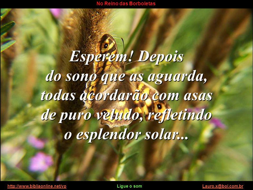 http://www.bibliaonline.net/vp Ligue o som Lauro.x@bol.com.brhttp://www.bibliaonline.net/vpLauro.x@bol.com.br No Reino das Borboletas Nisso chegou ao ninho a lagarta mais velha do grupo, que estava ausente, e, ouvindo os comentários empolgados das companheiras mais jovens, ordenou irritada: http://www.bibliaonline.net/vp Ligue o som Lauro.x@bol.com.brhttp://www.bibliaonline.net/vpLauro.x@bol.com.br