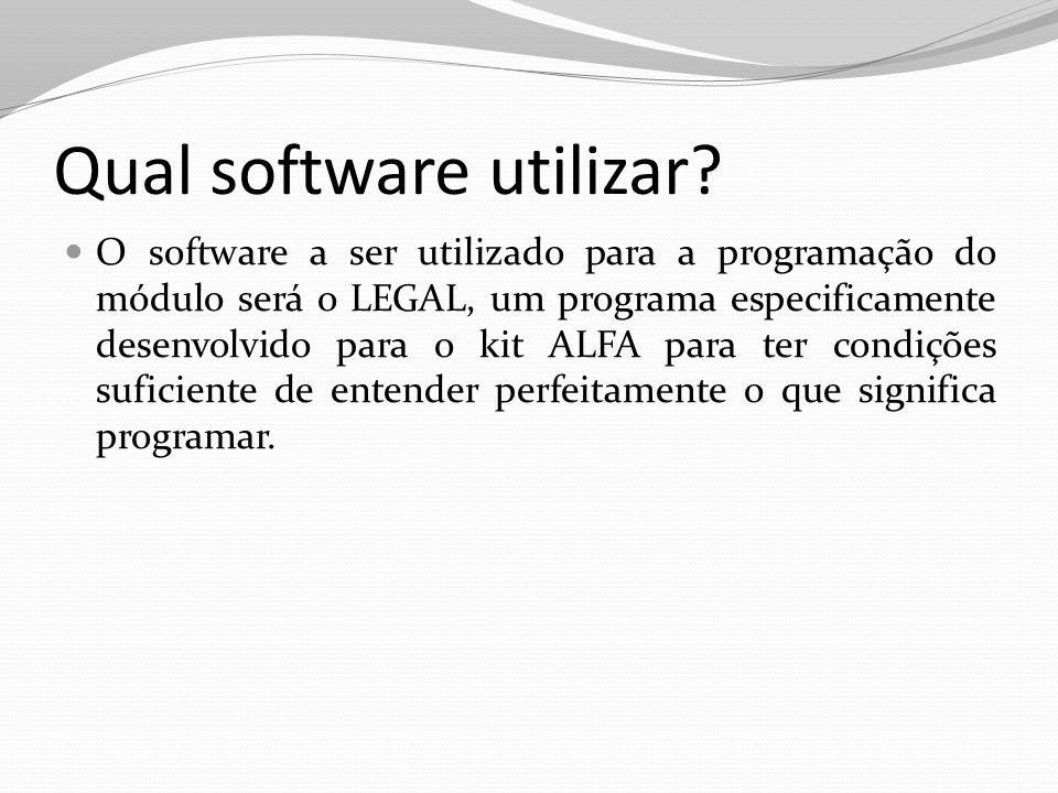 Qual software utilizar? O software a ser utilizado para a programação do módulo será o LEGAL, um programa especificamente desenvolvido para o kit ALFA