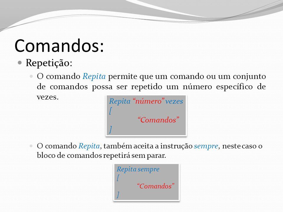 Comandos: Repetição: O comando Repita permite que um comando ou um conjunto de comandos possa ser repetido um número específico de vezes. O comando Re