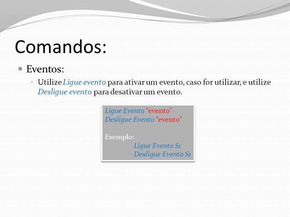 Comandos: Eventos: Utilize Ligue evento para ativar um evento, caso for utilizar, e utilize Desligue evento para desativar um evento. Ligue Evento eve
