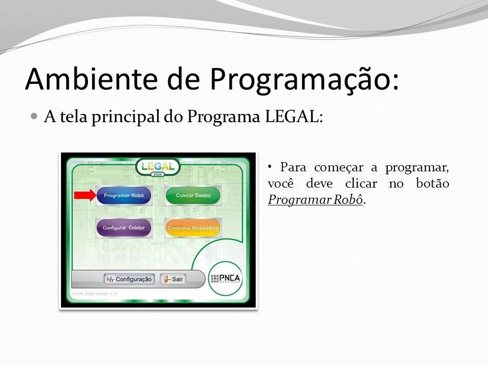 Ambiente de Programação: O ambiente de programação é formado por cinco regiões: Botões de Comandos; Barra de botões; Área de programação; Área de Avisos; Programa (Nome) ;