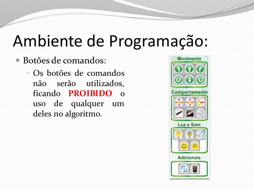 Ambiente de Programação: Botões de comandos: Os botões de comandos não serão utilizados, ficando PROIBIDO o uso de qualquer um deles no algoritmo.