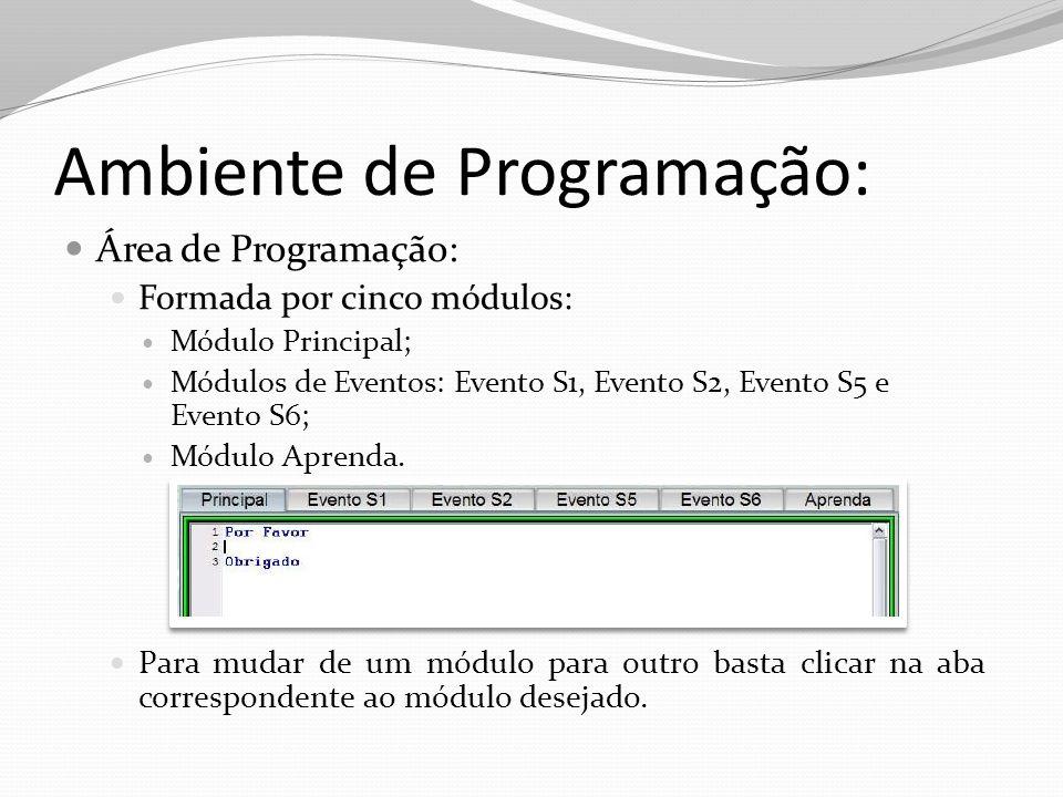 Ambiente de Programação: Área de Programação: Formada por cinco módulos: Módulo Principal; Módulos de Eventos: Evento S1, Evento S2, Evento S5 e Event