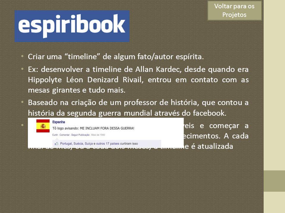 Espiribook Criar uma timeline de algum fato/autor espírita. Ex: desenvolver a timeline de Allan Kardec, desde quando era Hippolyte Léon Denizard Rivai
