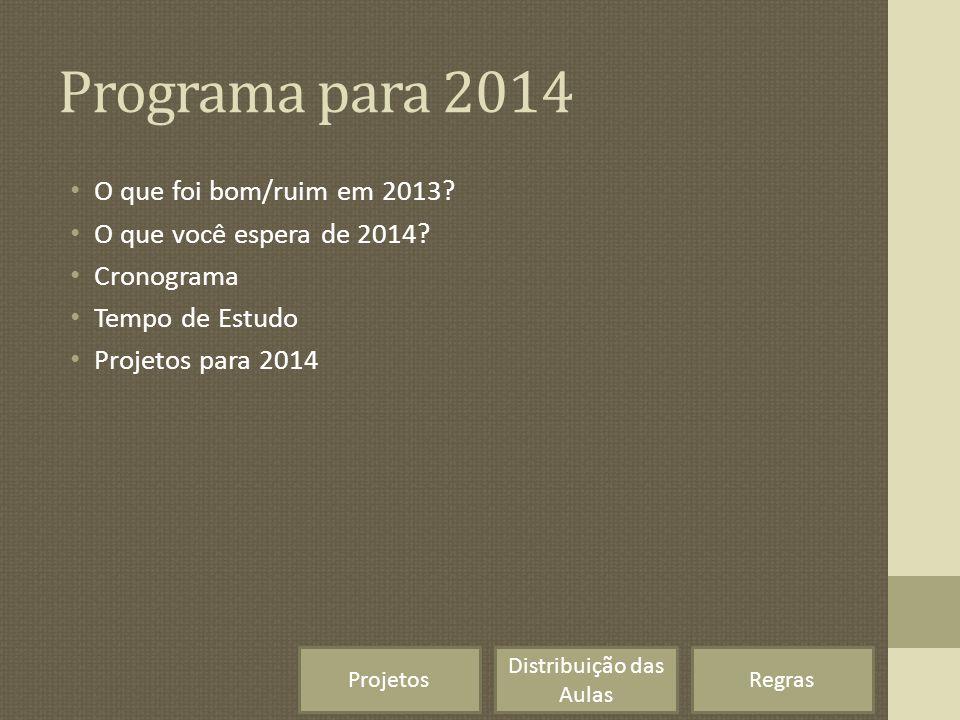 Programa para 2014 O que foi bom/ruim em 2013? O que você espera de 2014? Cronograma Tempo de Estudo Projetos para 2014 Regras Distribuição das Aulas