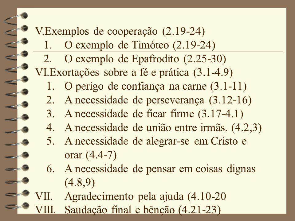 V.Exemplos de cooperação (2.19-24) 1.O exemplo de Timóteo (2.19-24) 2.O exemplo de Epafrodito (2.25-30) VI.Exortações sobre a fé e prática (3.1-4.9) 1.O perigo de confiança na carne (3.1-11) 2.A necessidade de perseverança (3.12-16) 3.A necessidade de ficar firme (3.17-4.1) 4.A necessidade de união entre irmãs.