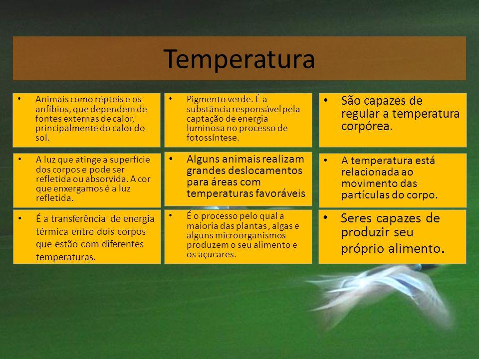 Temperatura Pigmento verde. É a substância responsável pela captação de energia luminosa no processo de fotossíntese. Pigmento verde. É a substância r