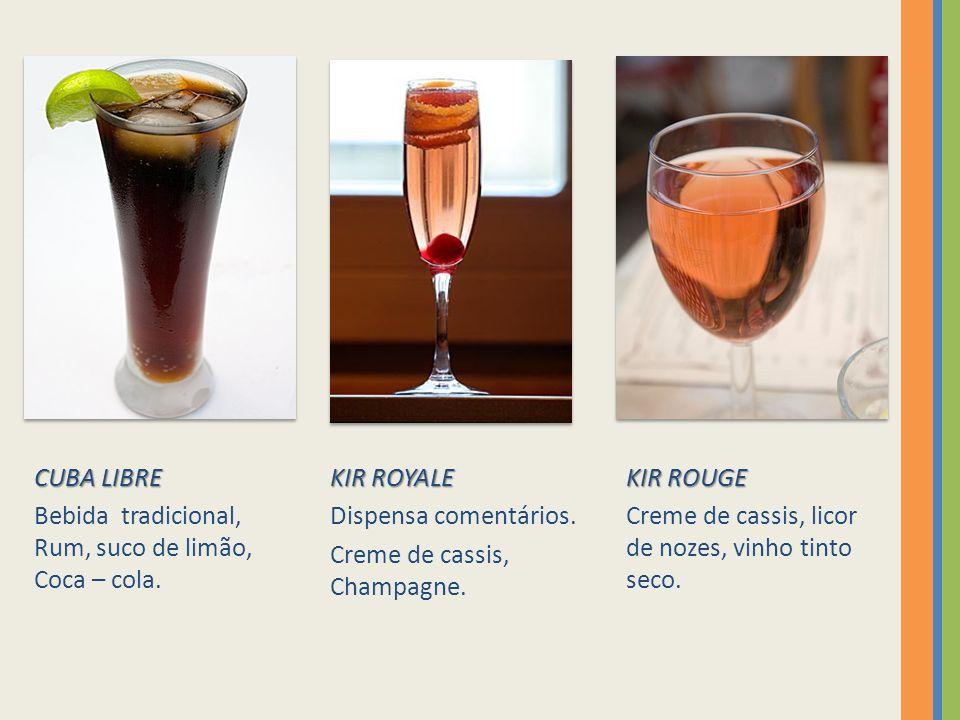 CUBA LIBRE Bebida tradicional, Rum, suco de limão, Coca – cola.