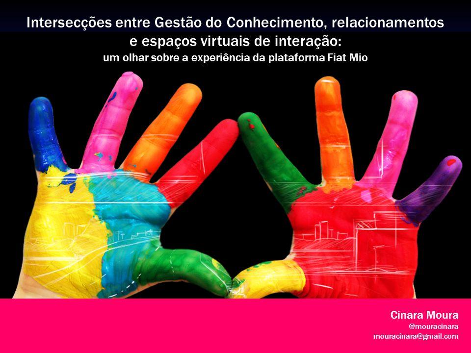 1 Intersecções entre Gestão do Conhecimento, relacionamentos e espaços virtuais de interação: um olhar sobre a experiência da plataforma Fiat Mio Cinara Moura @mouracinara mouracinara@gmail.com