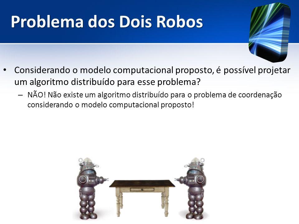 Problema dos Dois Robos Considerando o modelo computacional proposto, é possível projetar um algoritmo distribuído para esse problema? – NÃO! Não exis