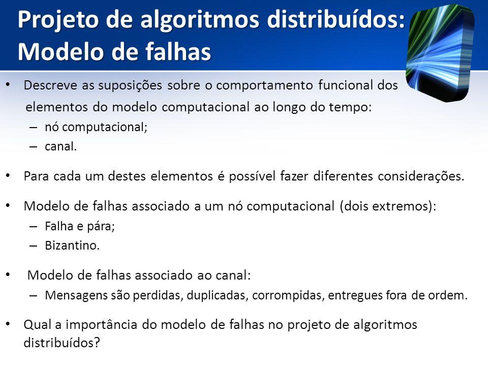 Projeto de algoritmos distribuídos: Modelo de falhas Descreve as suposições sobre o comportamento funcional dos elementos do modelo computacional ao l