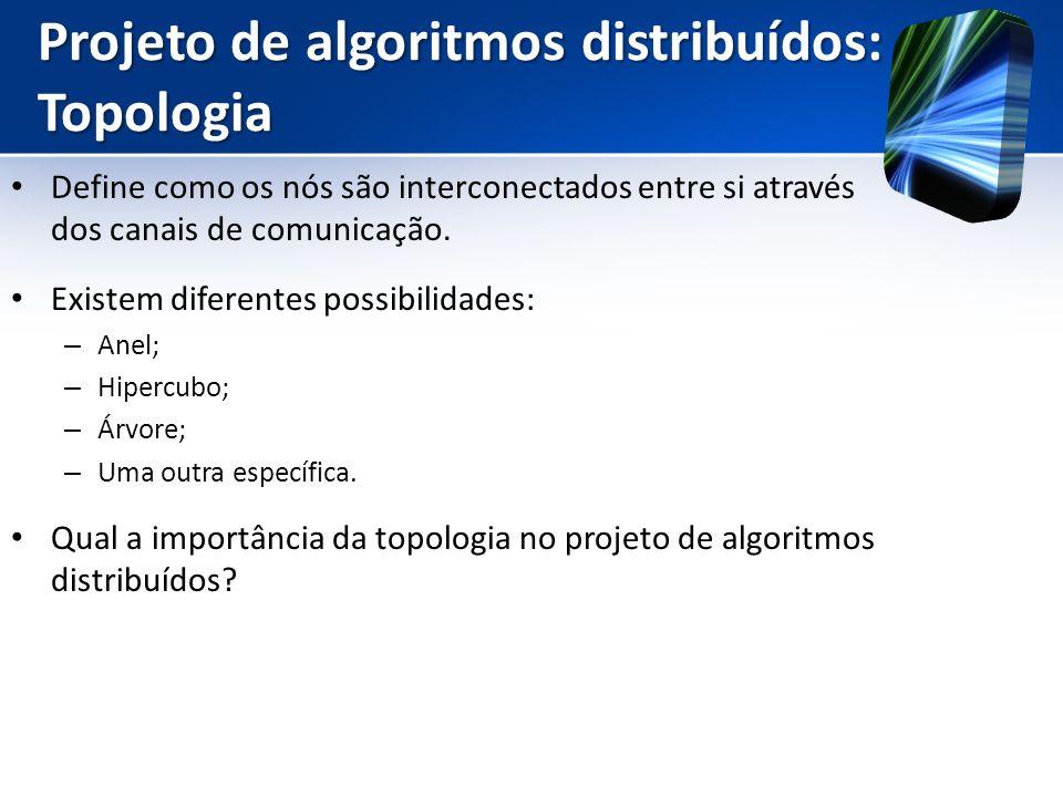 Projeto de algoritmos distribuídos: Topologia Define como os nós são interconectados entre si através dos canais de comunicação. Existem diferentes po