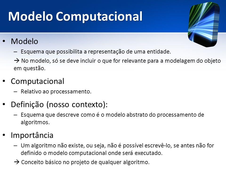 Modelo Computacional Modelo – Esquema que possibilita a representação de uma entidade. No modelo, só se deve incluir o que for relevante para a modela