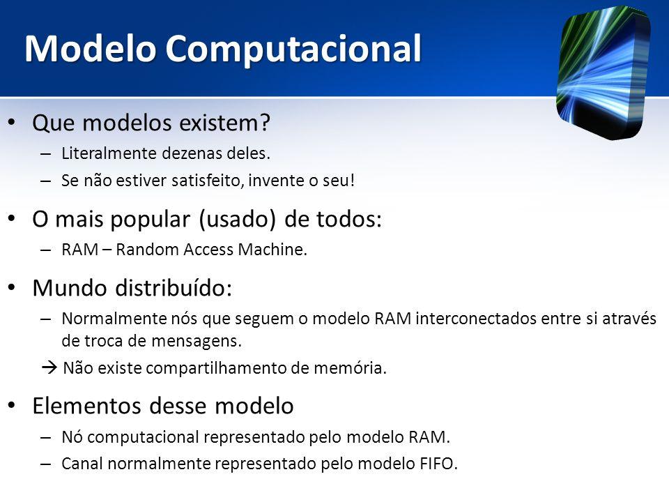 Modelo Computacional Que modelos existem? – Literalmente dezenas deles. – Se não estiver satisfeito, invente o seu! O mais popular (usado) de todos: –