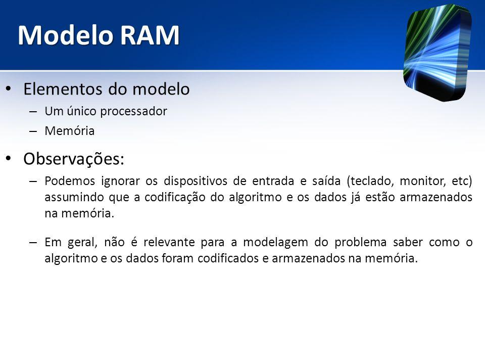 Modelo RAM Elementos do modelo – Um único processador – Memória Observações: – Podemos ignorar os dispositivos de entrada e saída (teclado, monitor, e