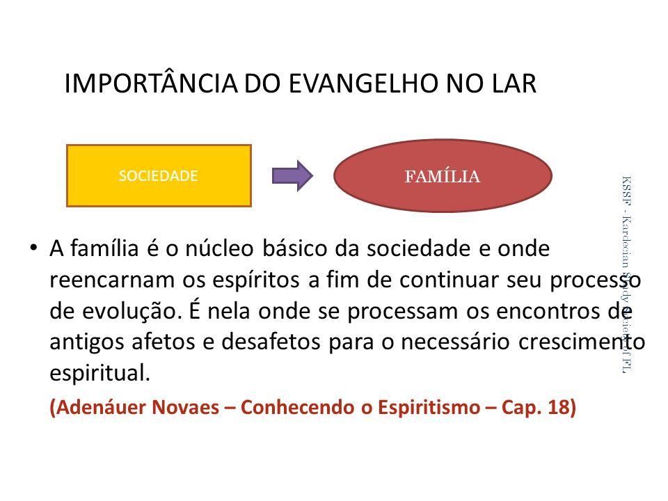 IMPORTÂNCIA DO EVANGELHO NO LAR A família é o núcleo básico da sociedade e onde reencarnam os espíritos a fim de continuar seu processo de evolução.