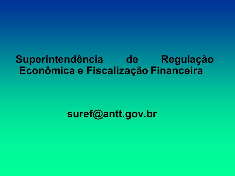 Superintendência de Regulação Econômica e Fiscalização Financeira suref@antt.gov.br