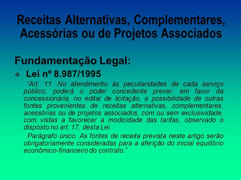 Receitas Alternativas, Complementares, Acessórias ou de Projetos Associados Fundamentação Legal: Lei nº 8.987/1995 Art.