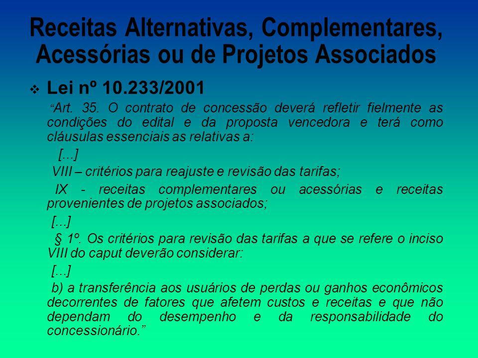 Receitas Alternativas, Complementares, Acessórias ou de Projetos Associados Lei nº 10.233/2001 Art.