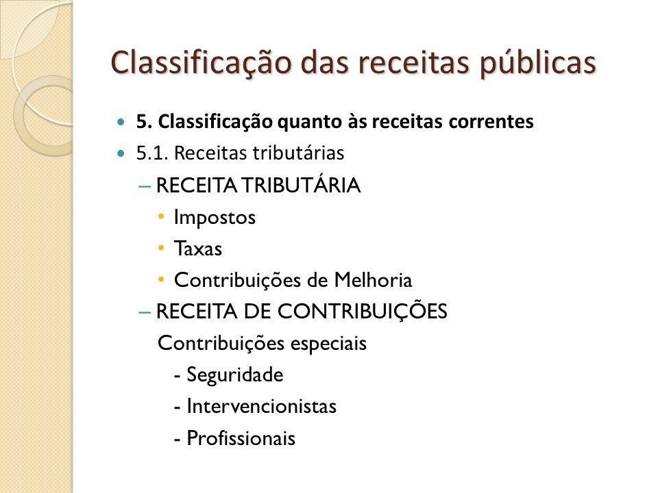 Classificação das receitas públicas 5. Classificação quanto às receitas correntes 5.1. Receitas tributárias – RECEITA TRIBUTÁRIA Impostos Taxas Contri